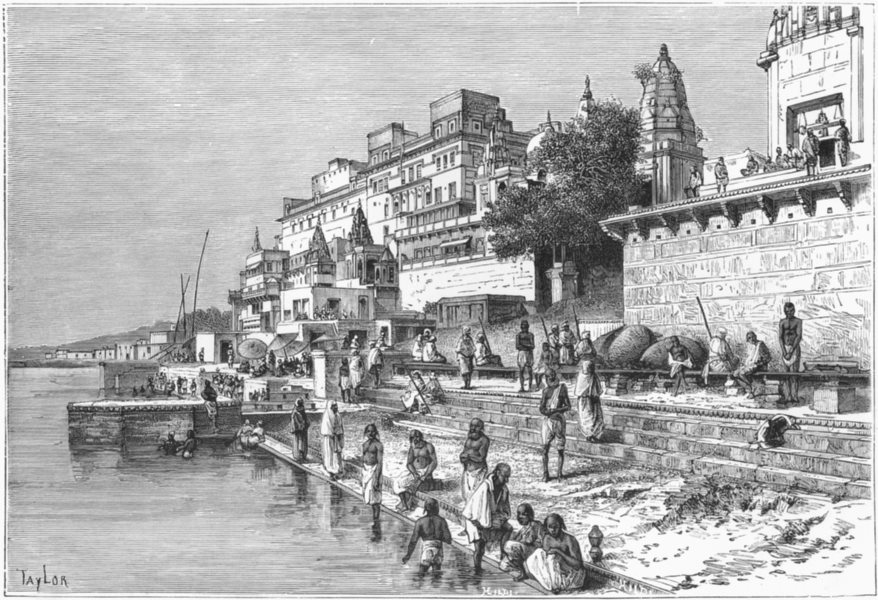 Associate Product INDIA. Varanasi-view Ghats c1885 old antique vintage print picture