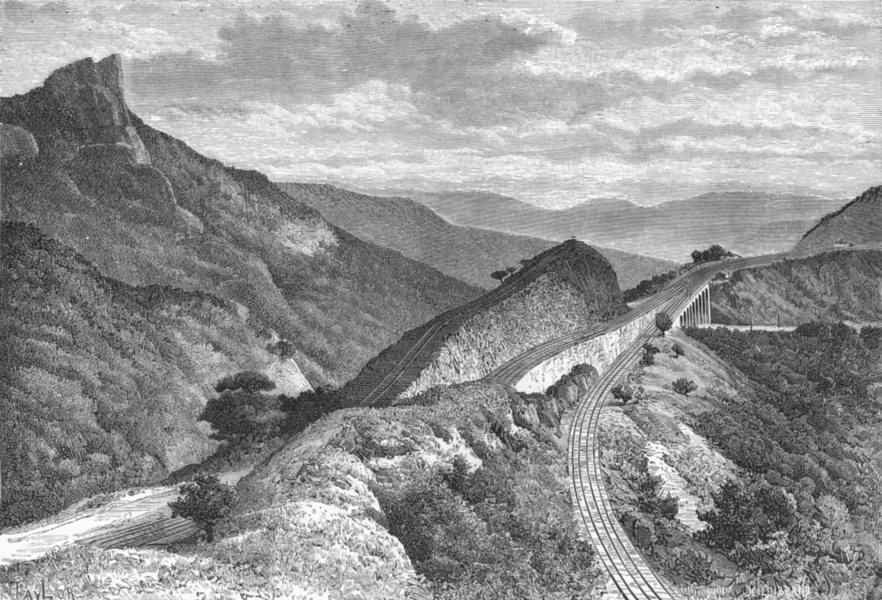 Associate Product INDIA. Bhor Ghat-Gradient of Railway Khandala c1885 old antique print picture