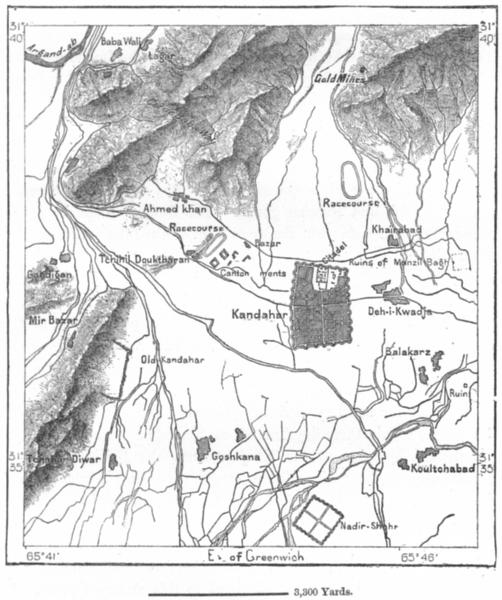 Associate Product AFGHANISTAN. Kandahar, sketch map c1885 old antique vintage plan chart