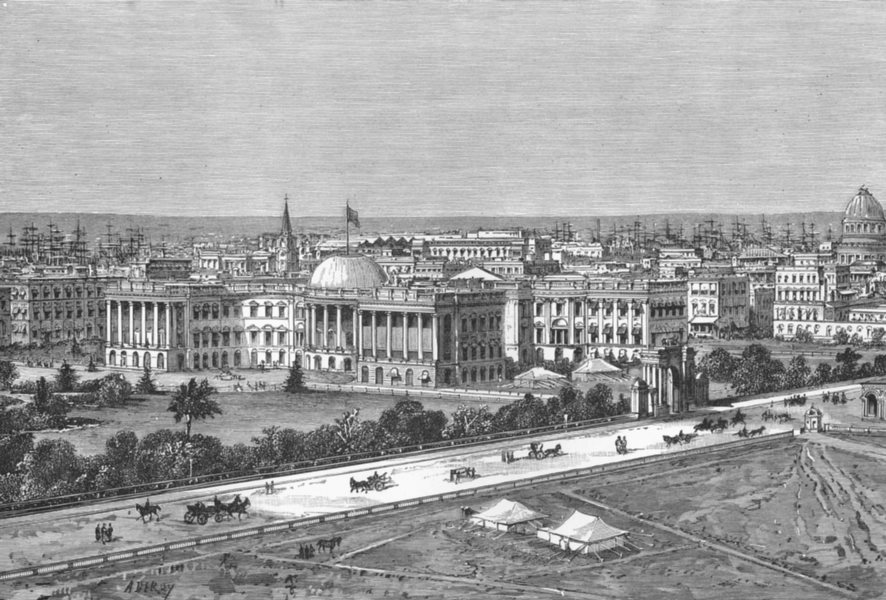 Associate Product INDIA. Kolkata-view Esplanade c1885 old antique vintage print picture