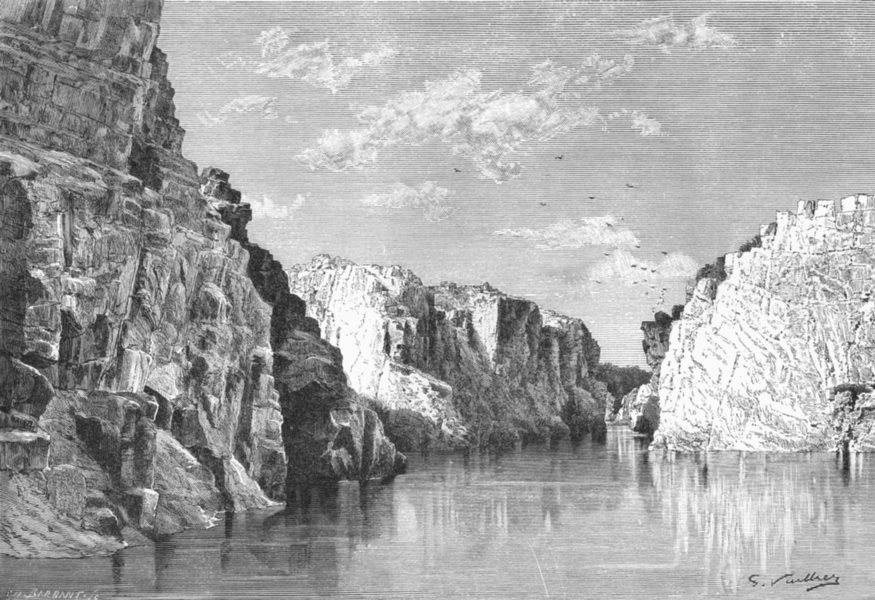 Associate Product INDIA. Gorge of Marble Rocks, Upper Narmada c1885 old antique print picture