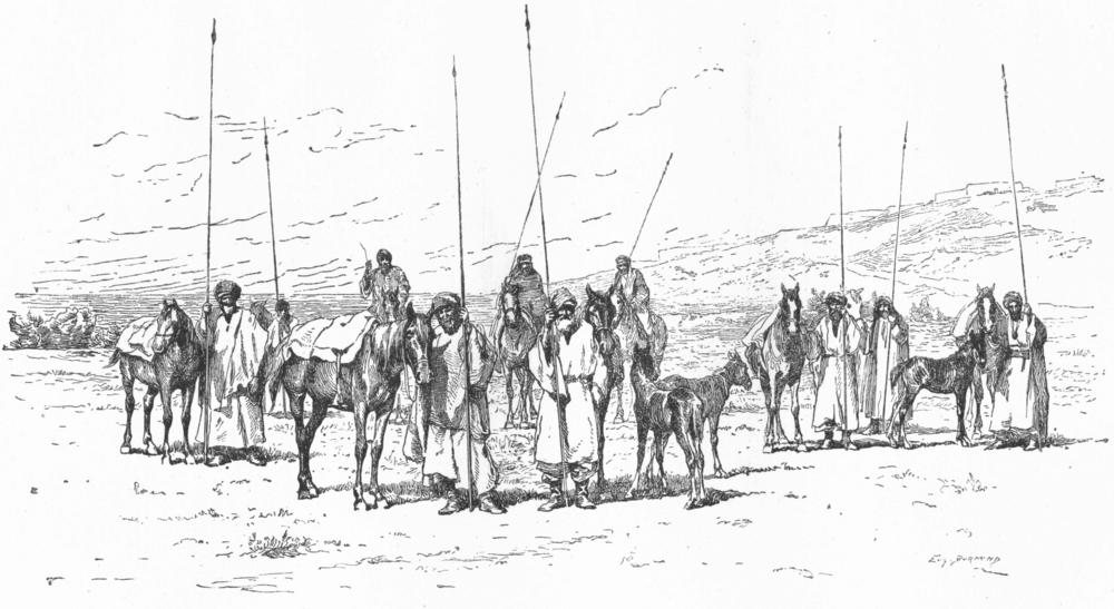 Associate Product IRAN. Kurdish Cavalry c1885 old antique vintage print picture