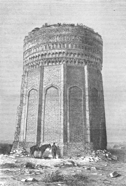 Associate Product IRAN. Tower Meimandan route Damghan Meshed c1885 old antique print picture