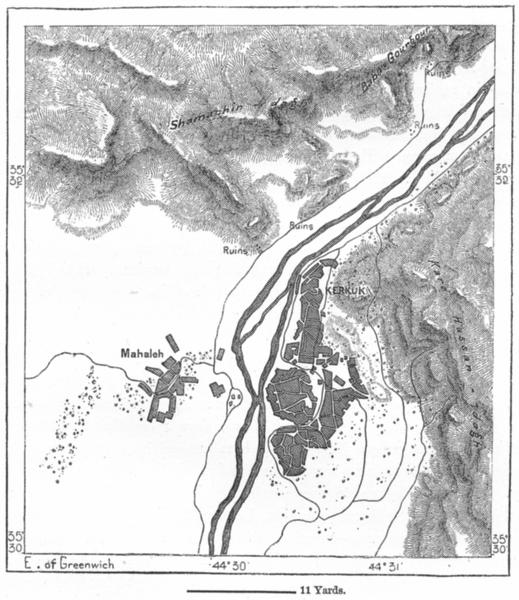 Associate Product IRAQ. Kirkuk, sketch map c1885 old antique vintage plan chart