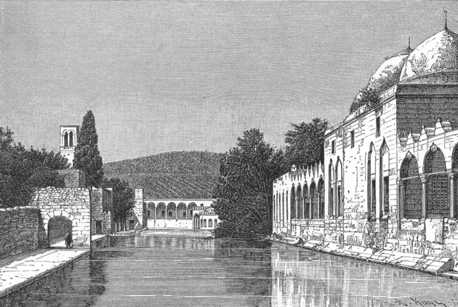 Associate Product IRAQ. Orfa-Mosque & fountain of Abraham c1885 old antique print picture