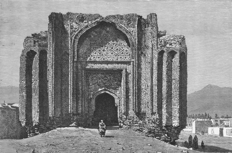 Associate Product IRAN. Hamadan-Ruined mosque of 14th century c1885 old antique print picture