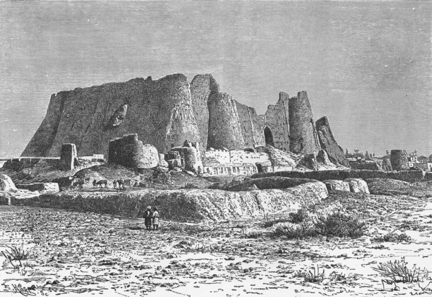 Associate Product IRAN. Fort of Veramin c1885 old antique vintage print picture