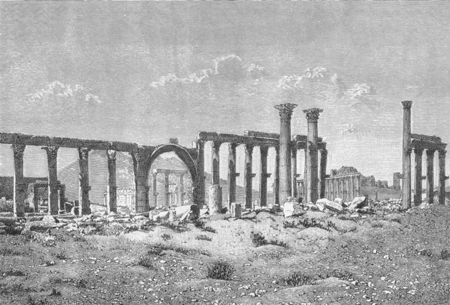 Associate Product SYRIA. Ruins, Palmyra-Colonnade c1885 old antique vintage print picture