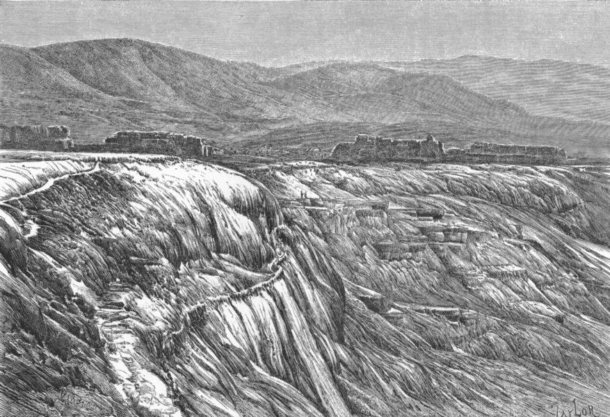 Associate Product TURKEY. Falls of Pambuk-Kaleh, Tambuk c1885 old antique vintage print picture