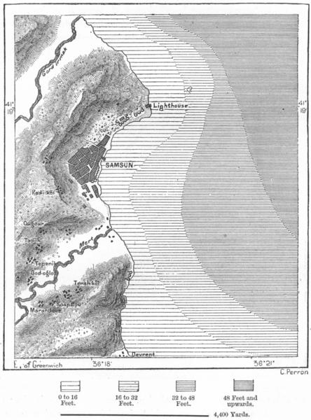 Associate Product TURKEY. Samsun, sketch map c1885 old antique vintage plan chart