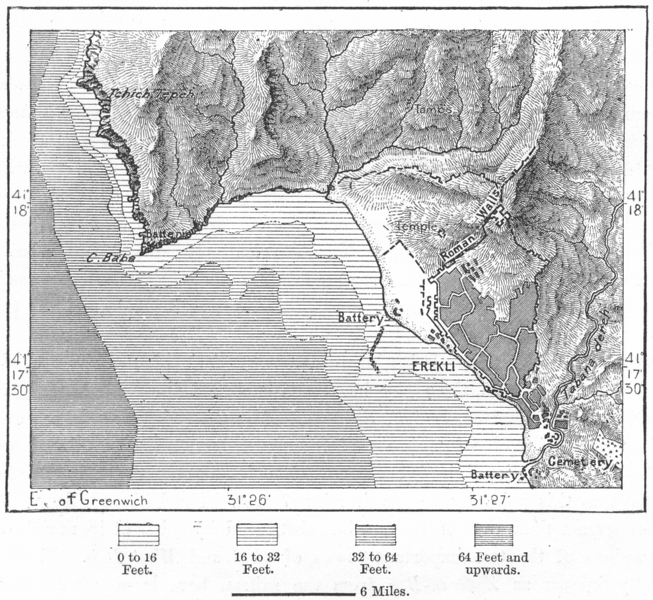 Associate Product TURKEY. Erekli, sketch map c1885 old antique vintage plan chart