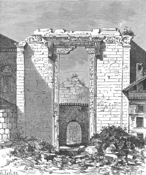 Associate Product TURKEY. Remains Temple Augustus Rome Ankara c1885 old antique print picture