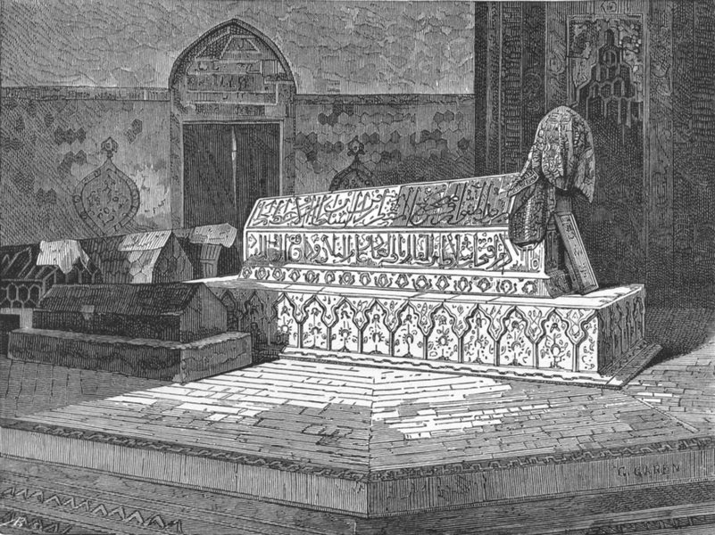 Associate Product BRUSSA. Tomb of Mahomet II, Green Mosque at c1885 old antique print picture