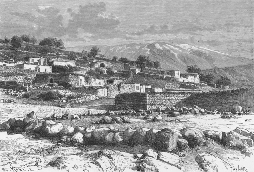 Associate Product SYRIA. Mount Hermon-view from Rasheya c1885 old antique vintage print picture