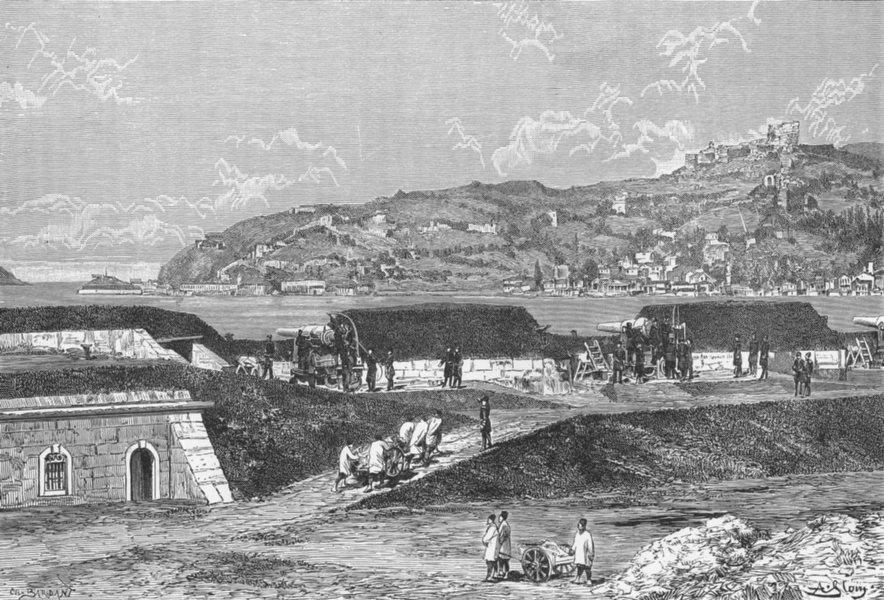 TURKEY. Turkish guns Black Sea entry Bosphorus c1885 old antique print picture