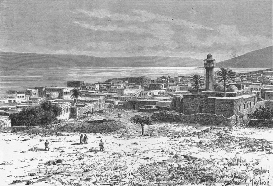 Associate Product ISRAEL. Lake & Tiberias c1885 old antique vintage print picture