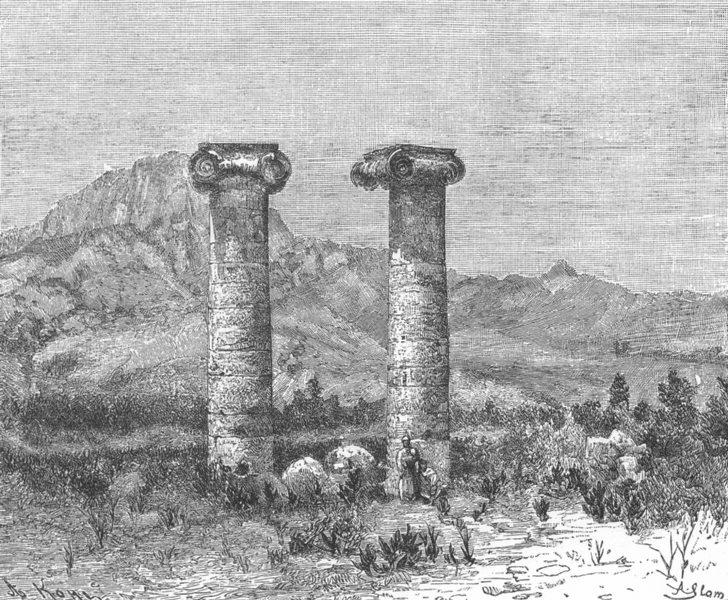 Associate Product TURKEY. Sardes-Columns of Temple Cybele c1885 old antique print picture