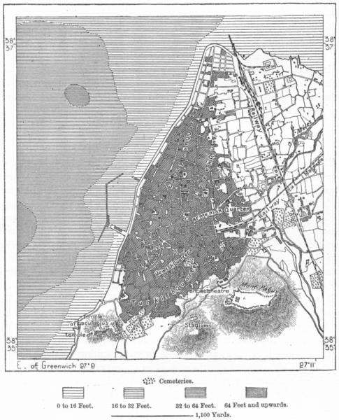 Associate Product TURKEY. Smyrna, sketch map c1885 old antique vintage plan chart