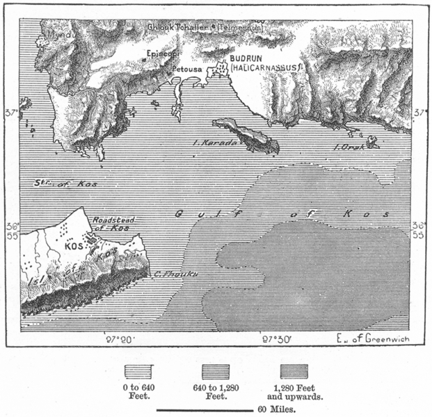 Associate Product GREECE. Budrun & Kos, sketch map c1885 old antique vintage plan chart