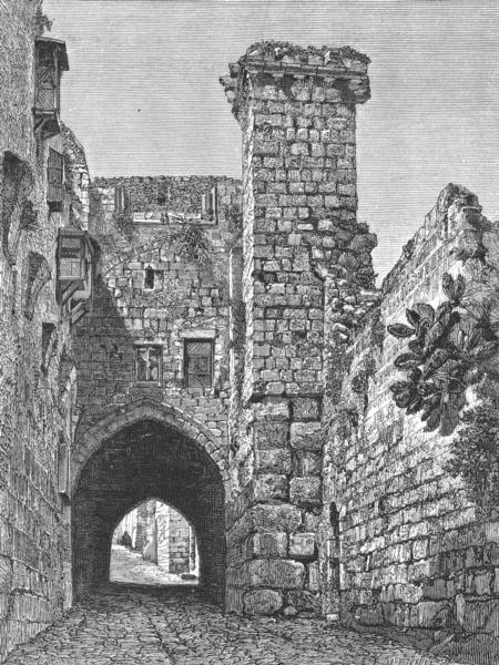Associate Product ISRAEL. Remains Antonia Fort, Jerusalem c1885 old antique print picture