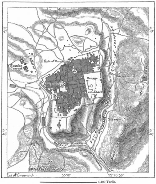 Associate Product ISRAEL. Jerusalem, sketch map c1885 old antique vintage plan chart