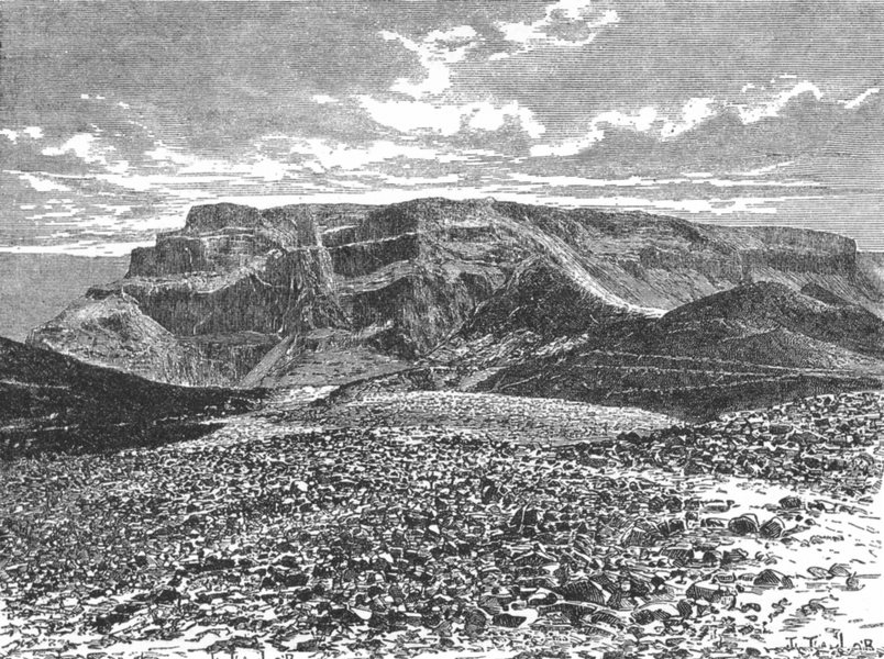 Associate Product ISRAEL. Rock of Masada c1885 old antique vintage print picture