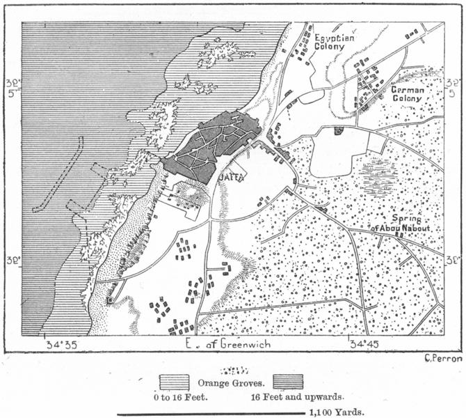 Associate Product ISRAEL. Jaffa, sketch map c1885 old antique vintage plan chart