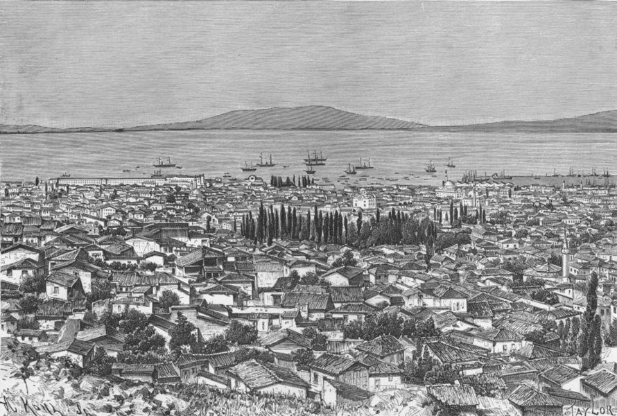 Associate Product TURKEY. Smyrna-view from Mount Pagus c1885 old antique vintage print picture