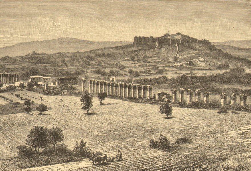 Associate Product TURKEY. Ephesus-ruins, Aqueduct & Citadel c1885 old antique print picture