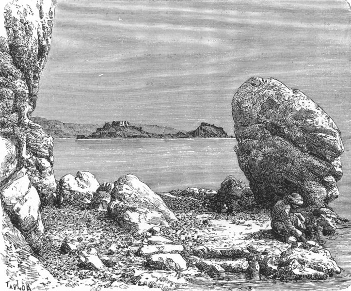 Associate Product EGYPT. Guriah Island, Gulf of Aqaba c1885 old antique vintage print picture