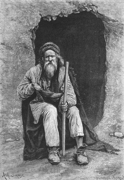PAKISTAN. A Baluch Mendicant c1885 old antique vintage print picture