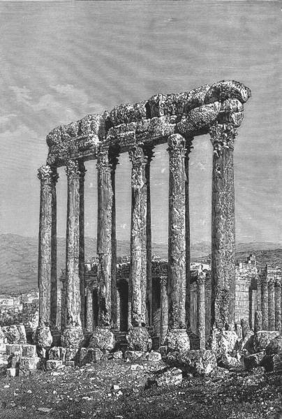 Associate Product LEBANON. Baalbek-ruins, 2 temples c1885 old antique vintage print picture