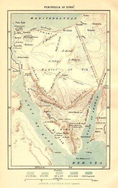 Associate Product EGYPT. Peninsula of Sinai c1885 old antique vintage map plan chart
