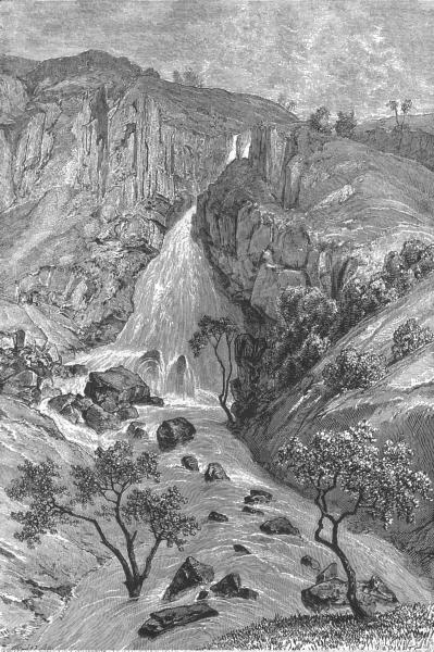 Associate Product ETHIOPIA. Davezut falls, Samara(Debre Tabor) c1885 old antique print picture