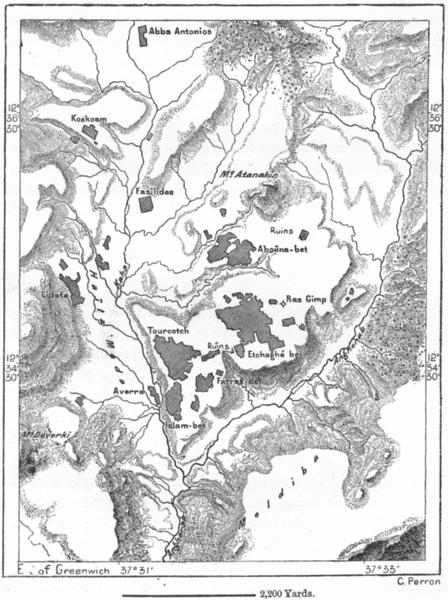 Associate Product ETHIOPIA. Gondar, sketch map c1885 old antique vintage plan chart