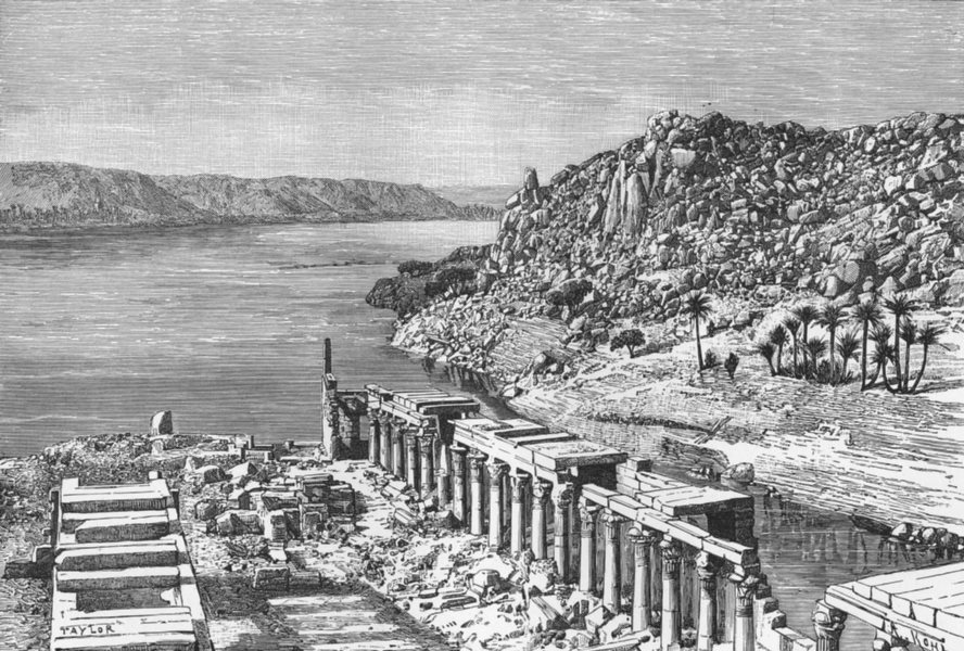Associate Product EGYPT. Nile-view Philae c1885 old antique vintage print picture