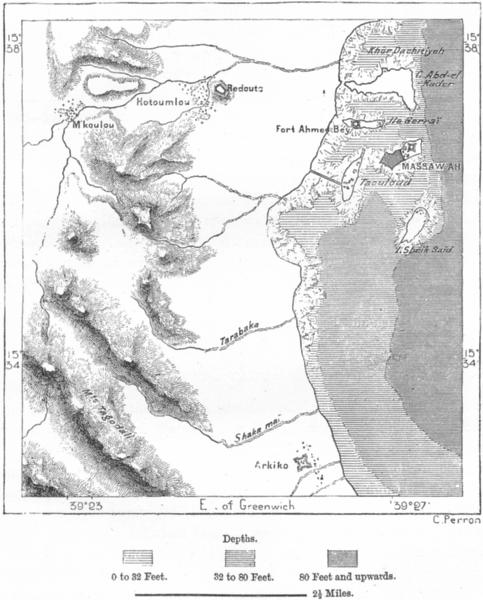 Associate Product ERITREA. Massawa, sketch map c1885 old antique vintage plan chart