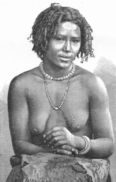 Associate Product ETHIOPIA. Galla Girl c1885 old antique vintage print picture
