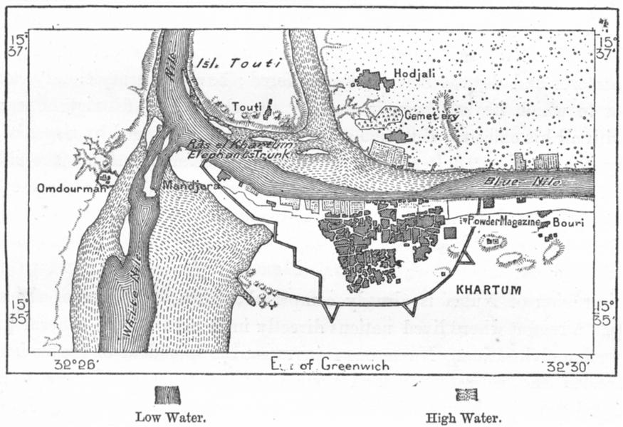 Associate Product SUDAN. Khartoum, sketch map c1885 old antique vintage plan chart