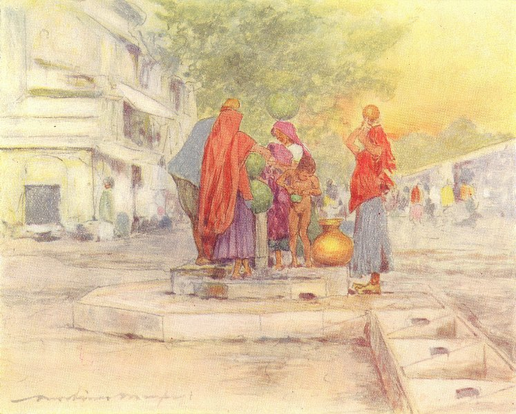 Associate Product INDIA. Fountain, Jaipur 1905 old antique vintage print picture