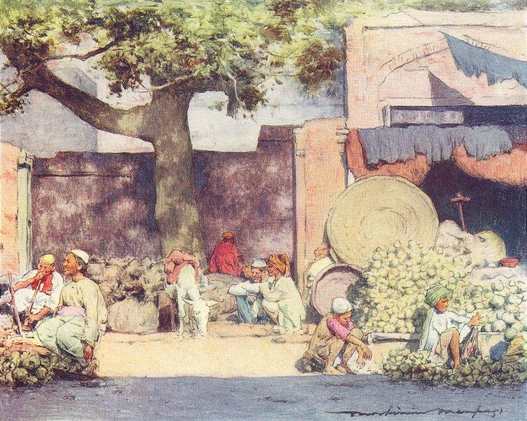 INDIA. Fruit stalls at Delhi 1905 old antique vintage print picture