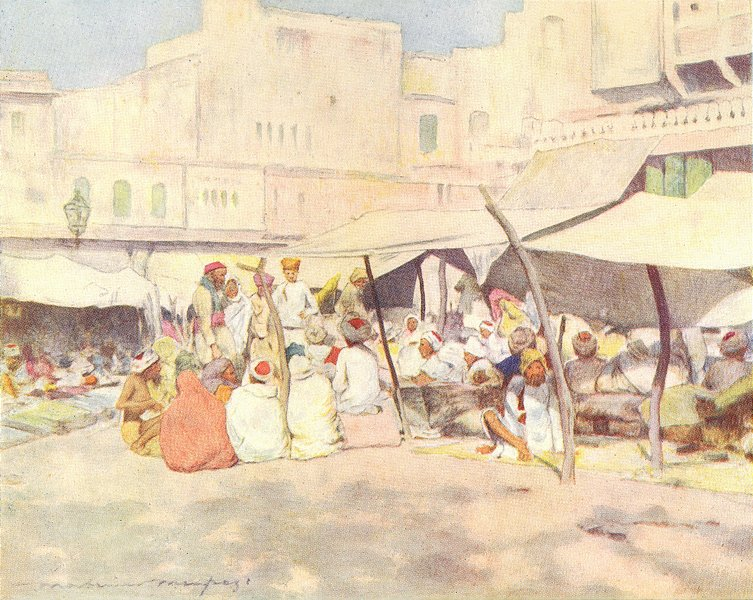 Associate Product INDIA. In the market-place, Jaipur 1905 old antique vintage print picture