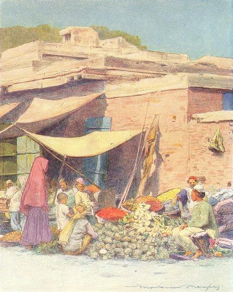 Associate Product INDIA. Vegetable market, Delhi 1905 old antique vintage print picture