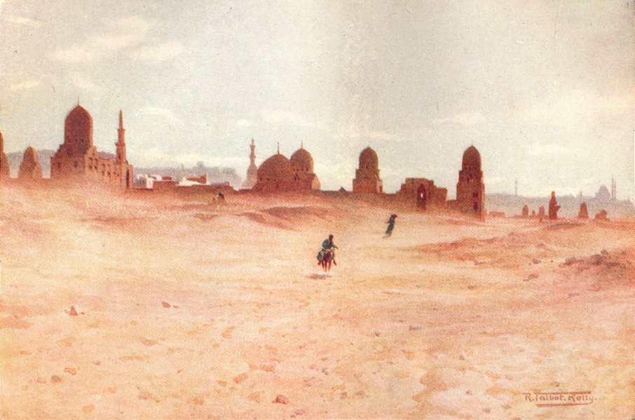 Associate Product EGYPT. A Dusty day at the Tombs of the Khalifs 1912 old antique print picture