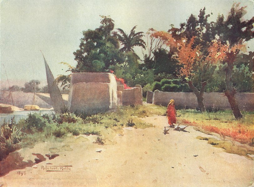 Associate Product EGYPT. On the Island of Rhoda 1912 old antique vintage print picture