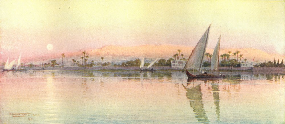 Associate Product EGYPT. Cairo from the River Nile - Evening 1912 old antique print picture