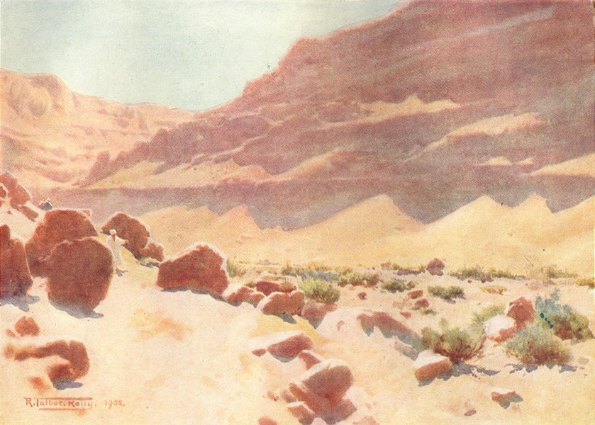 Associate Product EGYPT. A wadi in the Mokattam Hills 1912 old antique vintage print picture
