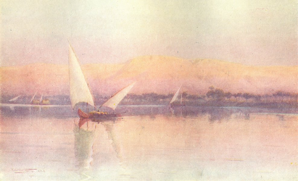 Associate Product EGYPT. A Nile afterglow 1912 old antique vintage print picture
