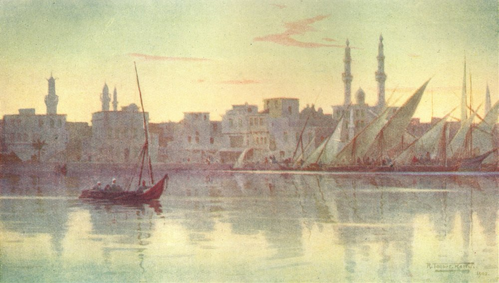 Associate Product EGYPT. Early morning at Damietta 1912 old antique vintage print picture