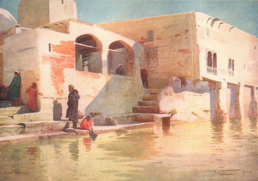 Associate Product EGYPT. A Water-side Mosque at Menzala 1912 old antique vintage print picture